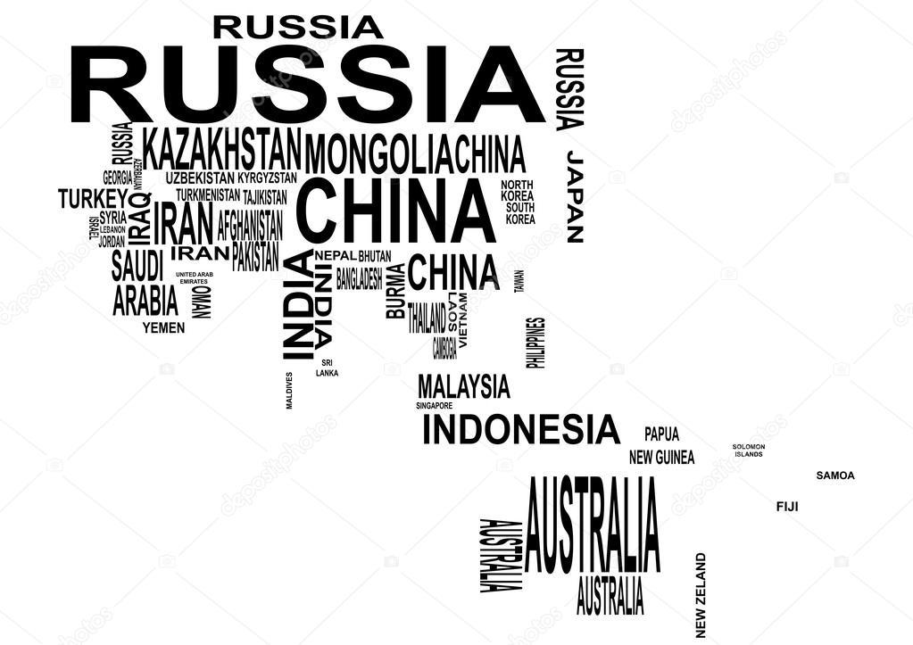 Carte De Lasie Et Oceanie.Aisa Et Oceanie Carte Avec Le Nom Du Pays Image