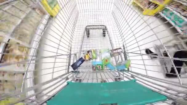 Phuket, Thailand- MARCH 8: Shopping cart moving through supermarket, March 08, 2014 in Phuket south of Thailand.