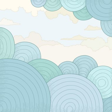 Abstract vector background with circles and clouds
