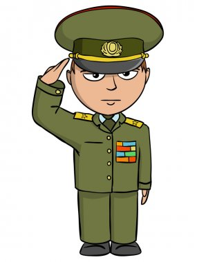 Military cartoon man in outfit salutes. Vector illustration. stock vector