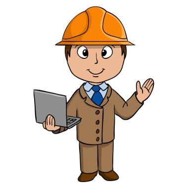 Cartoon engineer with notebook