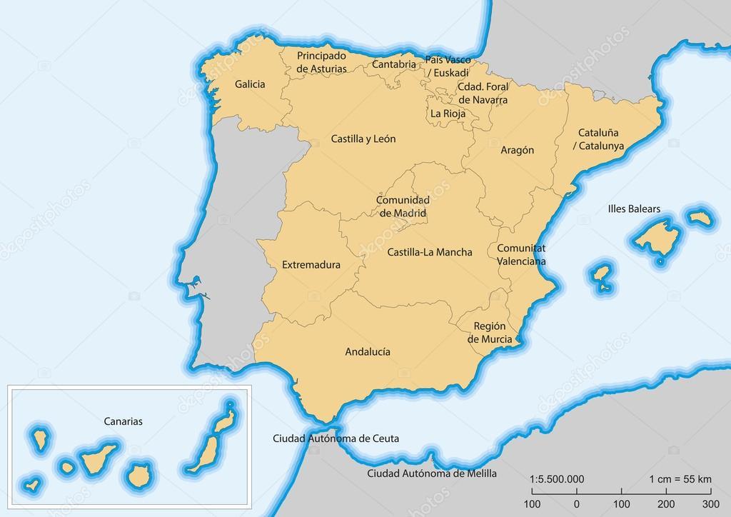 Spain map Autonomous communities Stock Vector alfonsodetomas