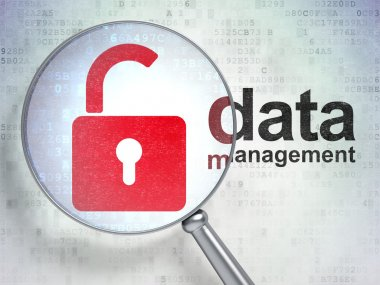 Icon padlock and words data management