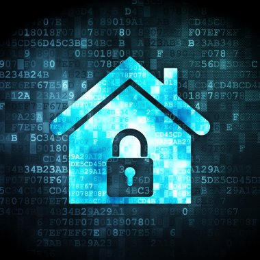 Security concept: pixelated home icon on digital background, 3d render stock vector