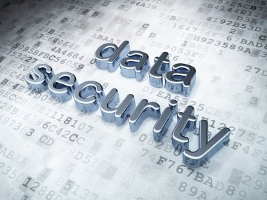 Security concept: silver data security on digital background