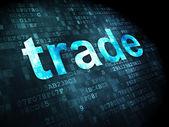 Podnikatelský koncept: obchod na digitální pozadí