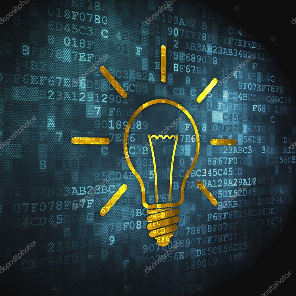 Finance concept: Light Bulb on digital background