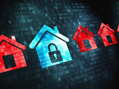 Privacy concept: on digital background