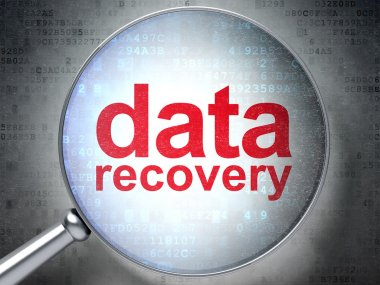 Information concept: optical glass with words Data Recovery