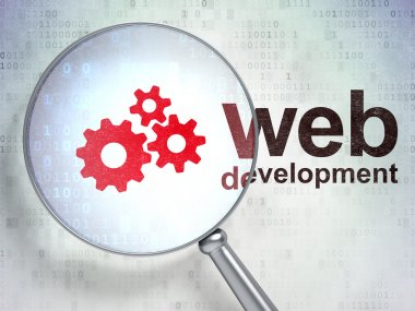 Web development concept: Gears and Web Development with optical
