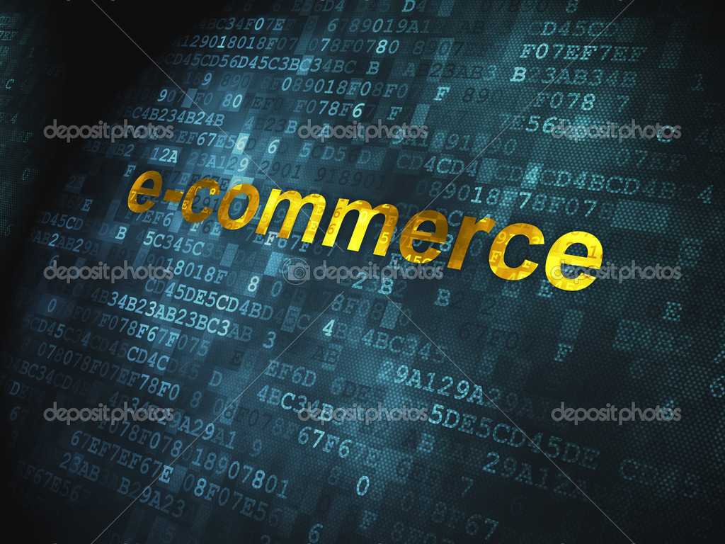 E commerce background images - Business Concept Pixelated Words E Commerce On Digital Background 3d Render Photo By Maxkabakov