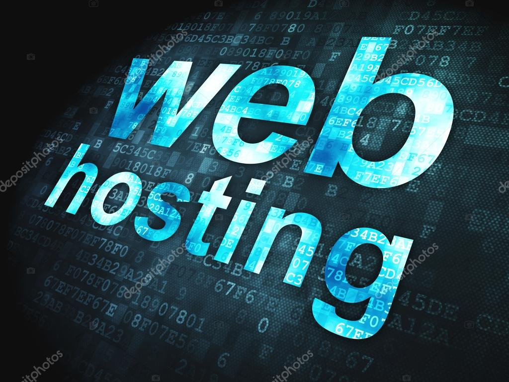 SEO web development concept: Web Hosting on digital background
