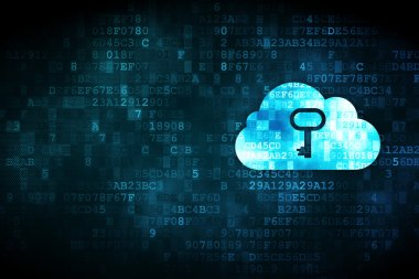 Cloud technology concept: Cloud Whis Key on digital background