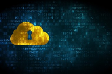 Cloud technology concept: Cloud Whis Keyhole on digital backgrou