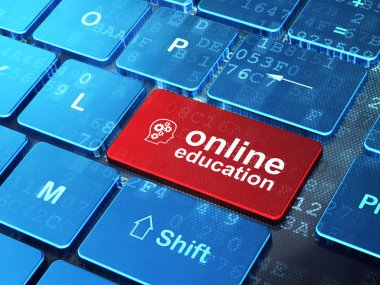Education concept: Head With Gears and Online Education on compu