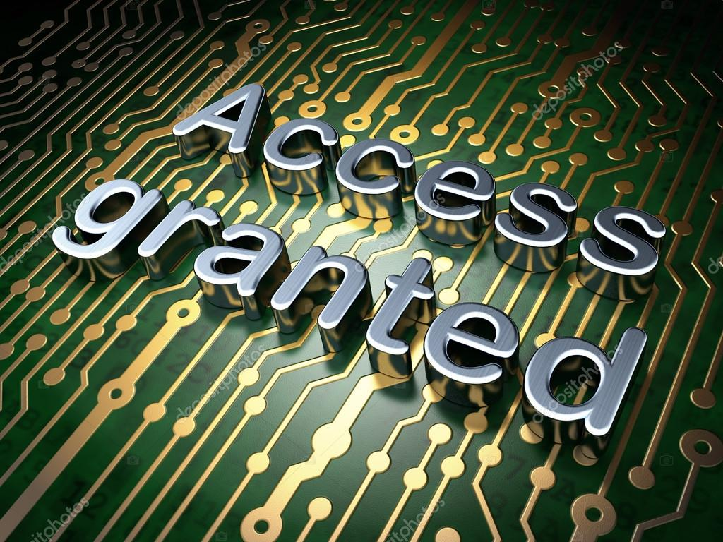 Security Concept Access Granted On Circuit Board Background Stock Virus Text Image Photo