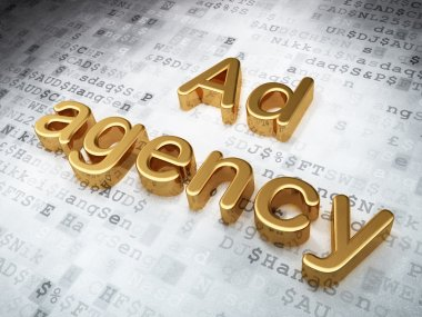 Advertising concept: Golden Ad Agency on digital background