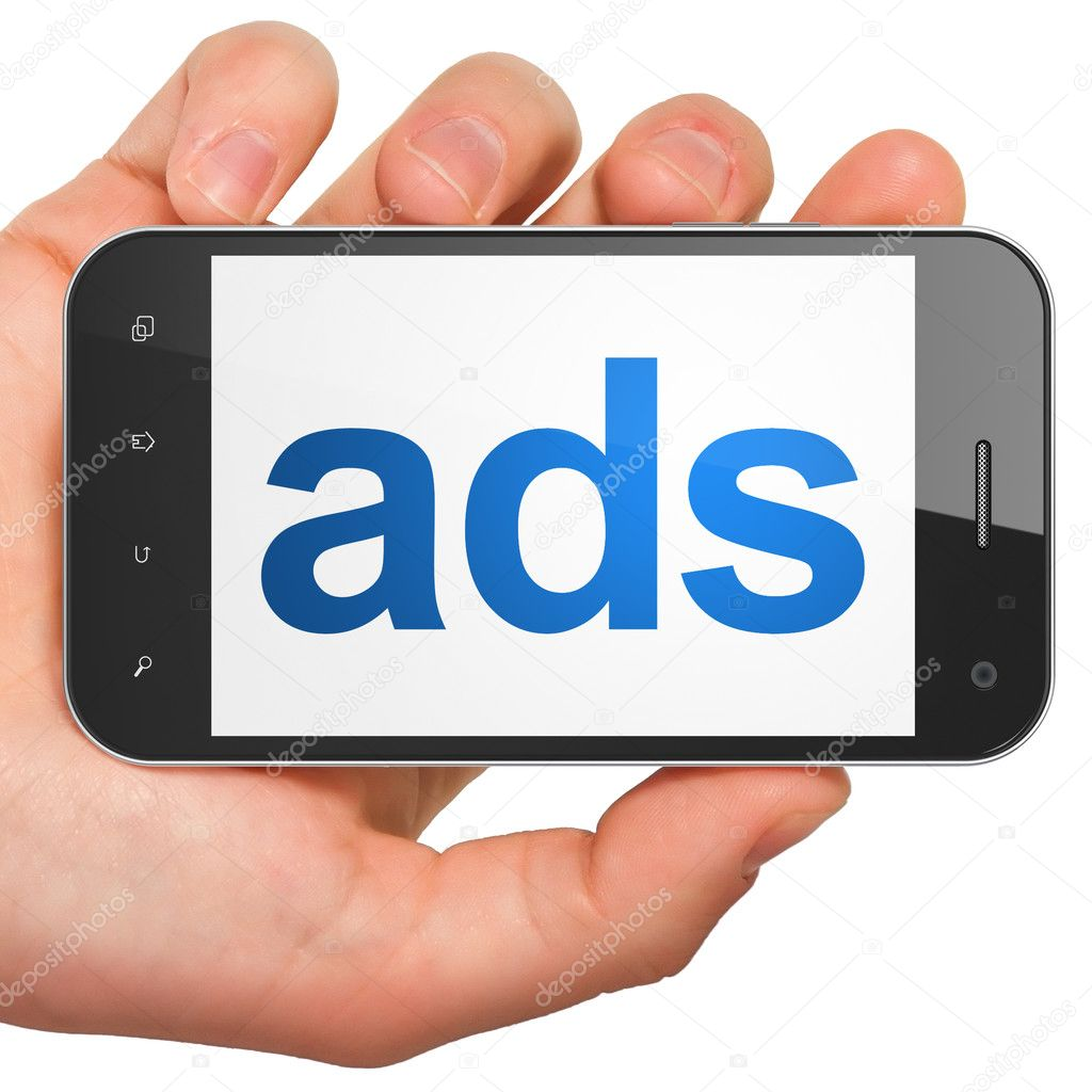 Advertising concept: Ads on smartphone