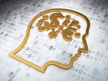 Education concept: Golden Finance Symbol on digital background