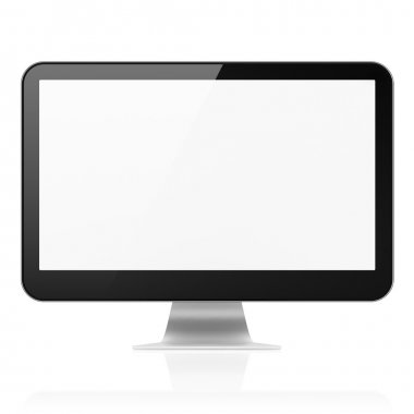 Computer monitor (modern pc screen) isolated over white backgrou
