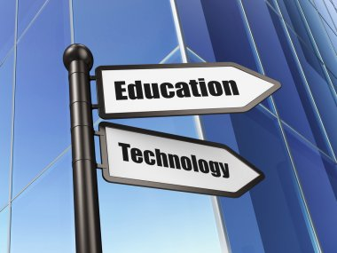 Education concept: Education Technology on Building background