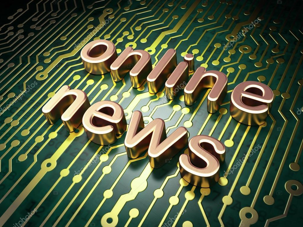 News Concept Online On Circuit Board Background Stock Photo Design