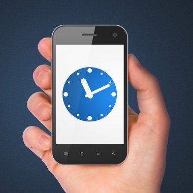 Timeline concept: Clock on smartphone