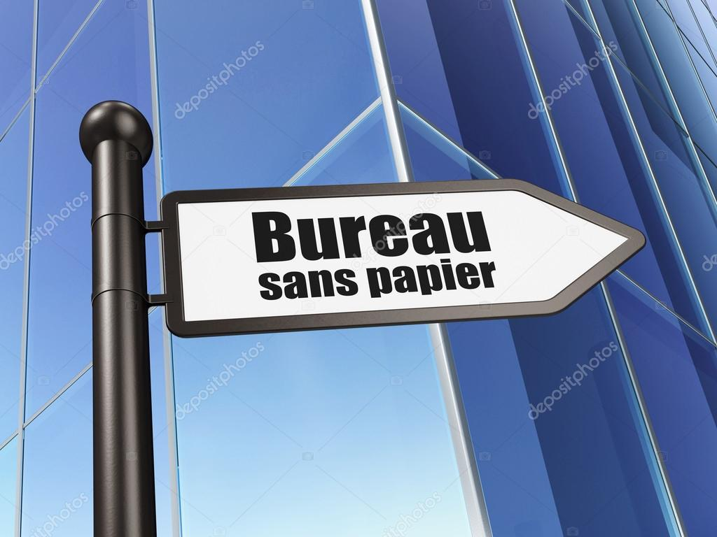 Conceito de finanças: bureau sans papier french no edifício