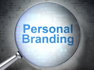 Marketing concept: Personal Branding with optical glass