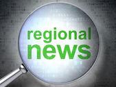 Fotografie Neuigkeiten-Konzept: Regionalnachrichten mit optischem Glas