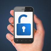 informační koncepce: otevřený zámek na smartphone