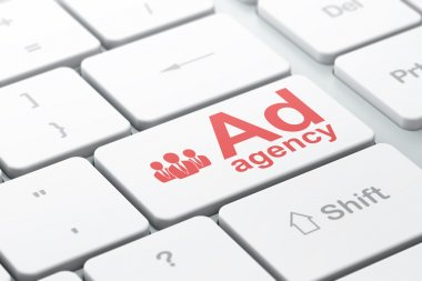 Marketing concept: Business People and Ad Agency on computer keyboard background