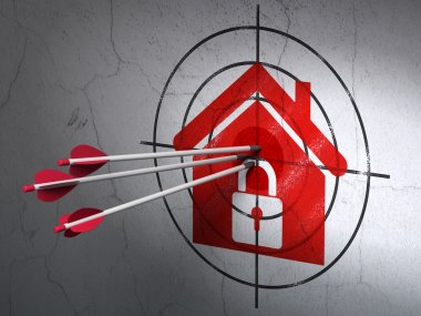 Safety concept: arrows in Home target on wall background