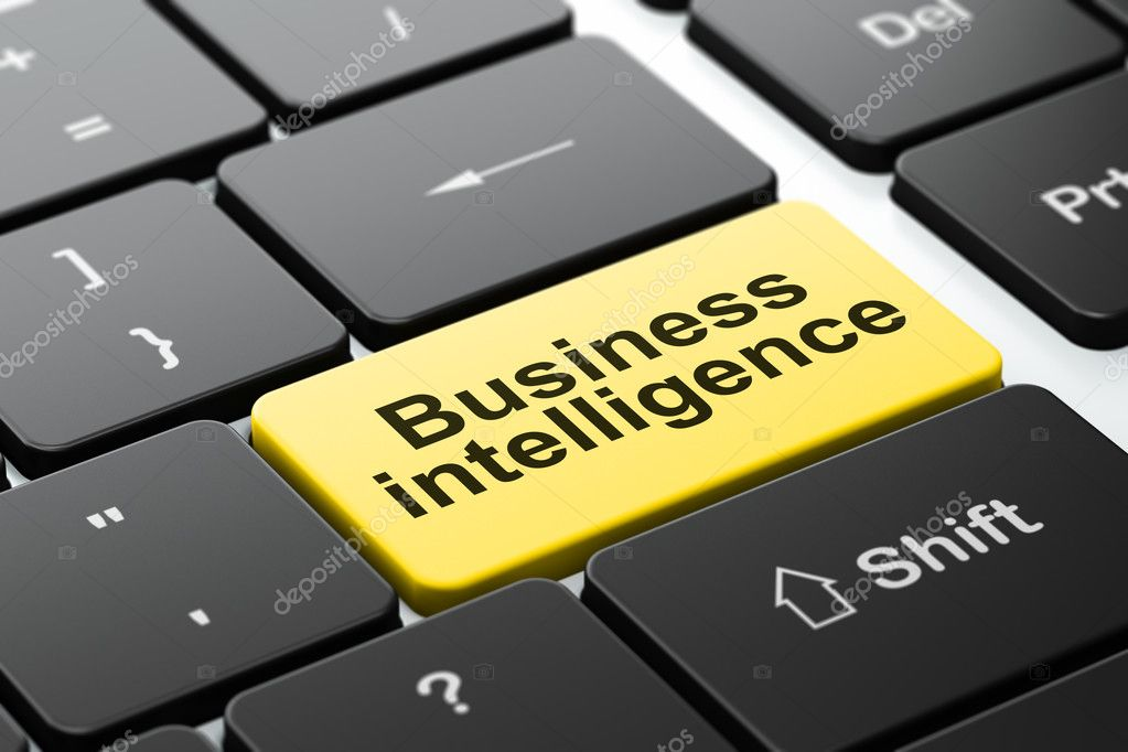 Business concept: Business Intelligence on computer keyboard background