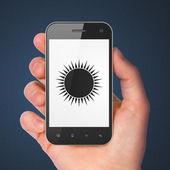 旅行の概念: スマート フォン上の太陽