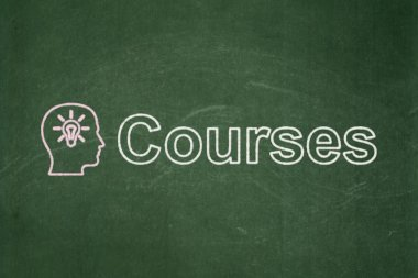 Education concept: Head With Light Bulb and Courses on chalkboard background