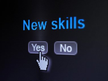 Education concept: New Skills on digital computer screen