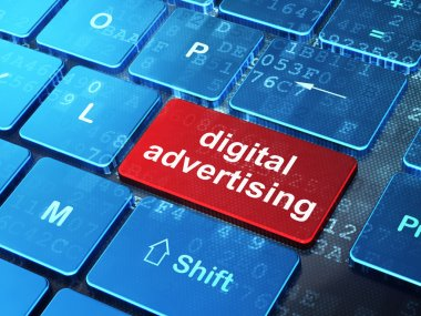 Marketing concept: Digital Advertising on computer keyboard background