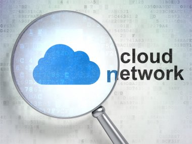 Cloud technology concept: Cloud and Cloud Network with optical glass