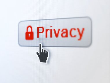 Safety concept: Privacy and Closed Padlock on digital button background