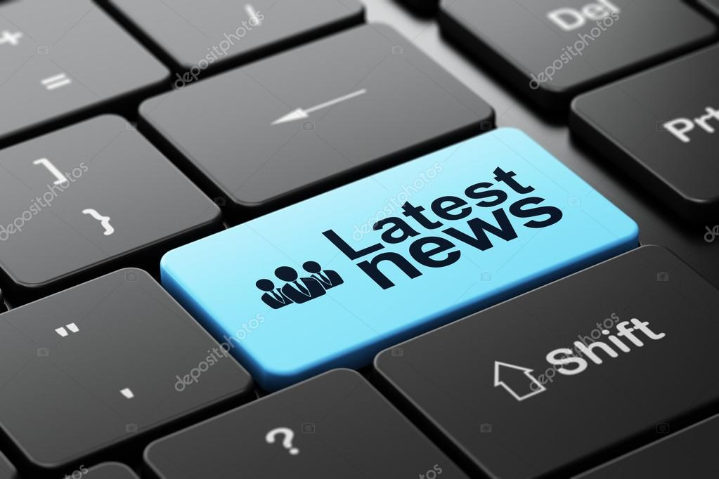 News concept: Business People and Latest News on computer keyboard background