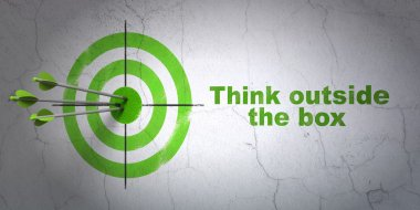 Education concept: target and Think outside The box on wall background