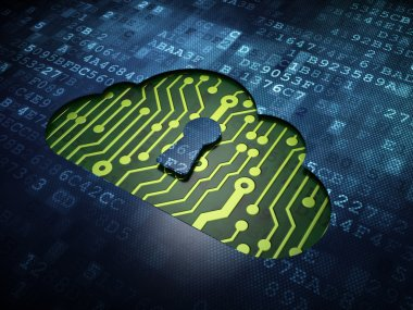 Cloud computing concept: Cloud With Keyhole on digital screen background