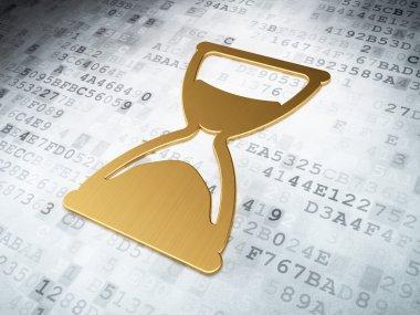 Timeline concept: Golden Hourglass on digital background