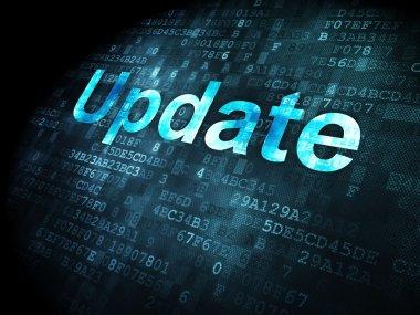 SEO web development concept: Update on digital background