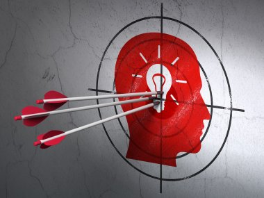 Marketing concept: arrows in Head With Light Bulb target on wall background