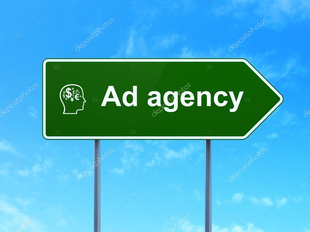 Advertising concept: Ad Agency and Head With Finance Symbol icon on green  road (highway) sign, clear blue sky background, 3d render  Photo by  maxkabakov