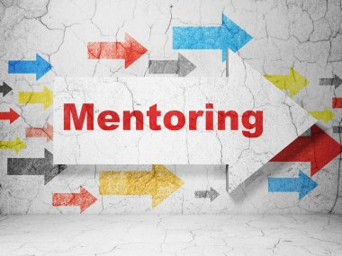 Education concept: arrow with Mentoring on grunge wall background