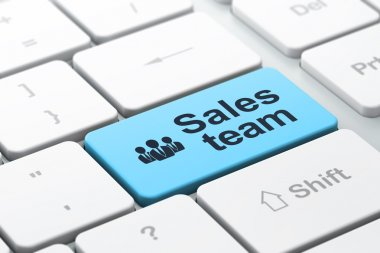 Marketing concept: Business People and Sales Team on keyboard