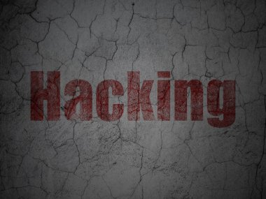 Privacy concept: Hacking on grunge wall background